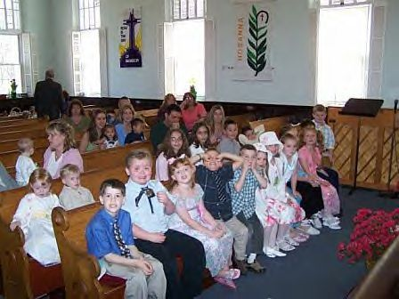 Children at Sunday Worship Service